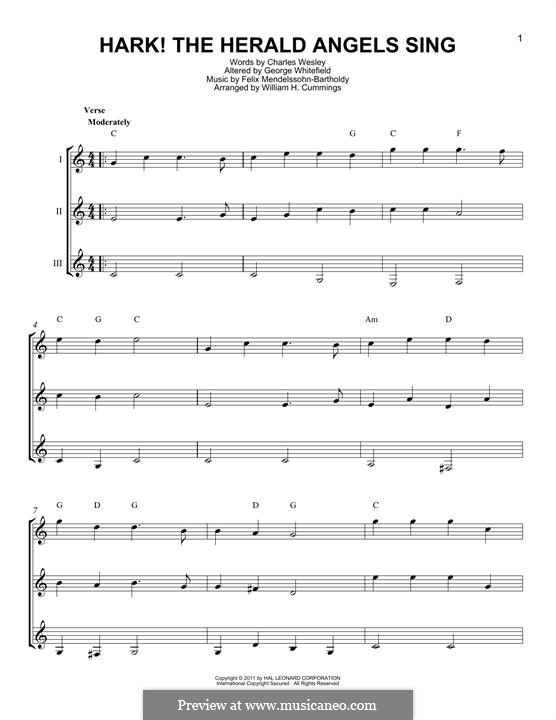 Hark! The Herald Angels Sing, for Solo Instrument: For any instrument by Felix Mendelssohn-Bartholdy
