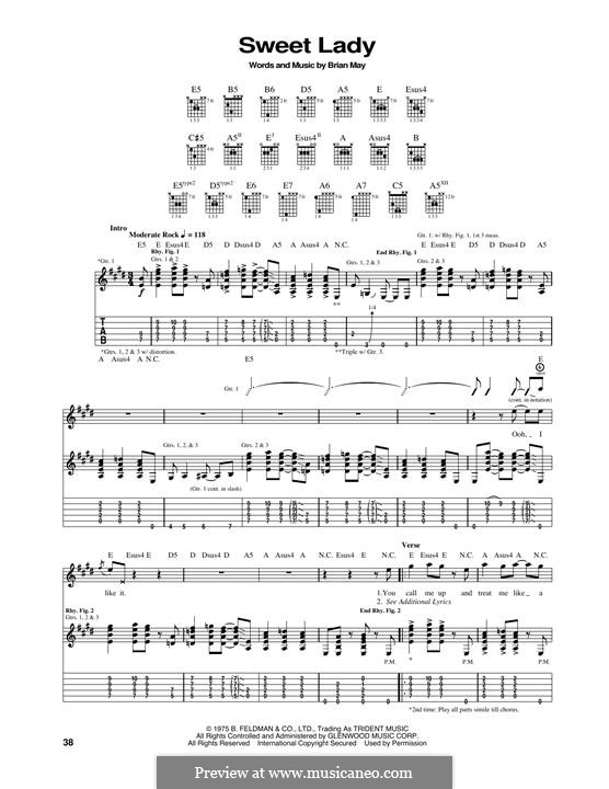 Sweet Lady (Queen): For guitar with tab by Brian May