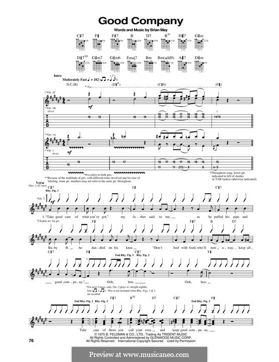Good Company (Queen): For guitar with tab by Brian May