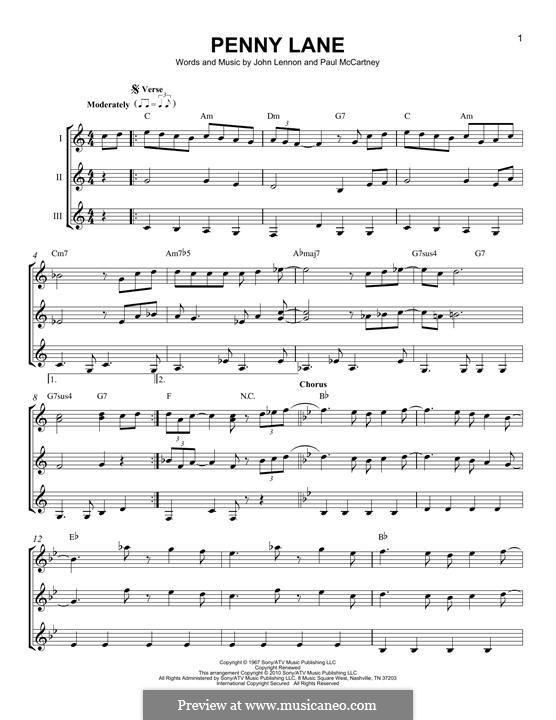 Penny Lane (The Beatles): For any instrument by John Lennon, Paul McCartney