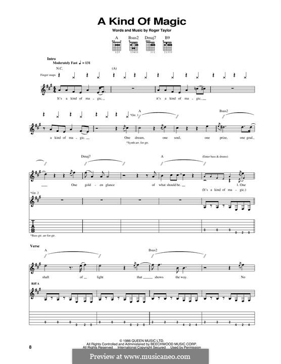 A Kind of Magic (Queen): For guitar with tab by Roger Taylor
