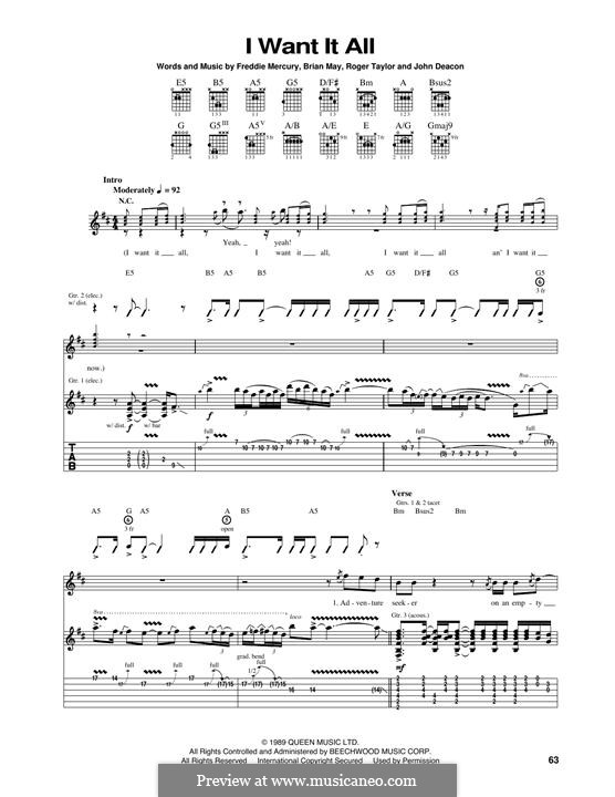 I Want it All (Queen): For guitar with tab by Brian May, Freddie Mercury, John Deacon, Roger Taylor