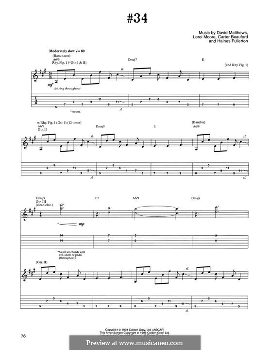#34 (Dave Matthews Band): For guitar with tab by David J. Matthews