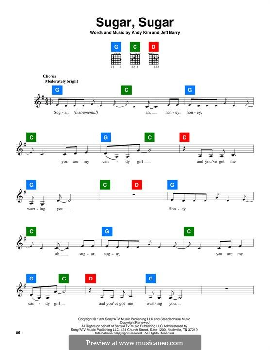 Sugar, Sugar (The Archies): Lyrics and chords by Andy Kim, Jeff Barry