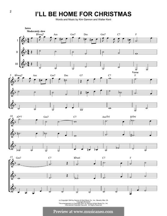 I'll Be Home for Christmas: For any instrument by Kim Gannon, Walter Kent