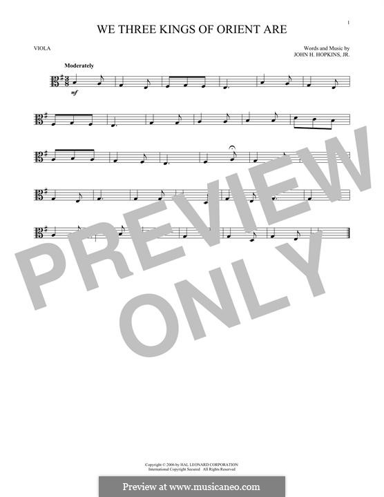 We Three Kings of Orient are (Printable Scores): For viola by John H. Hopkins Jr.