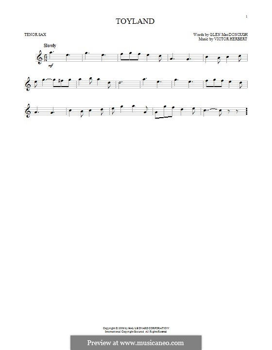 Babes in Toyland: Toyland, for tenor saxophone by Victor Herbert