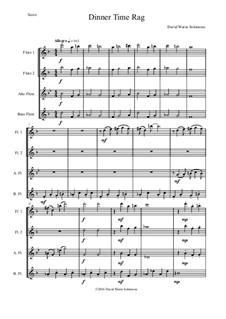 Dinner Time Rag: For flute quartet (2 flutes, alto flute, bass flute) by David W Solomons