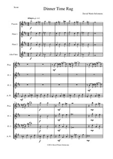 Dinner Time Rag: For high flute quartet (piccolo, 2 flutes, alto flute) by David W Solomons