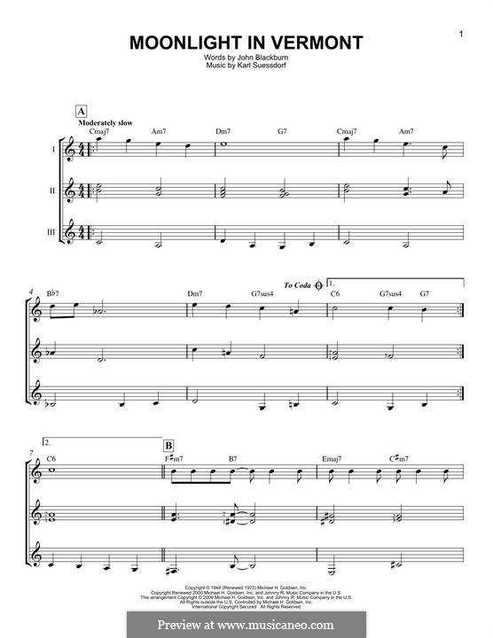Moonlight in Vermont (Frank Sinatra): For any instrument by Karl Suessdorf