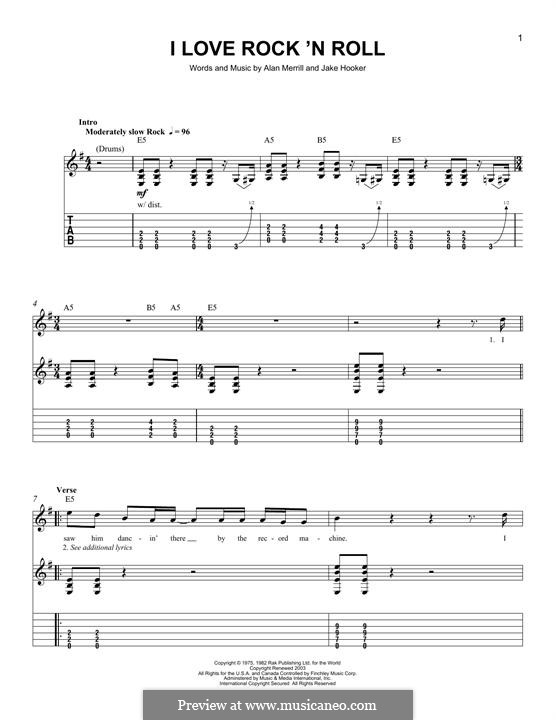 I Love Rock 'n Roll: For guitar with tab by Alan Merrill, Jake Hooker