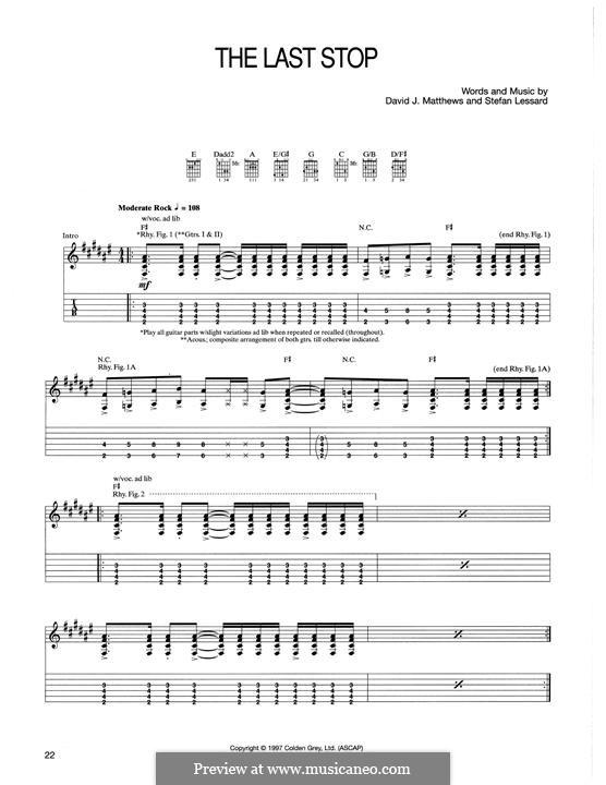 The Last Stop (Dave Matthews Band): For guitar with tab by David J. Matthews, Stefan Lessard