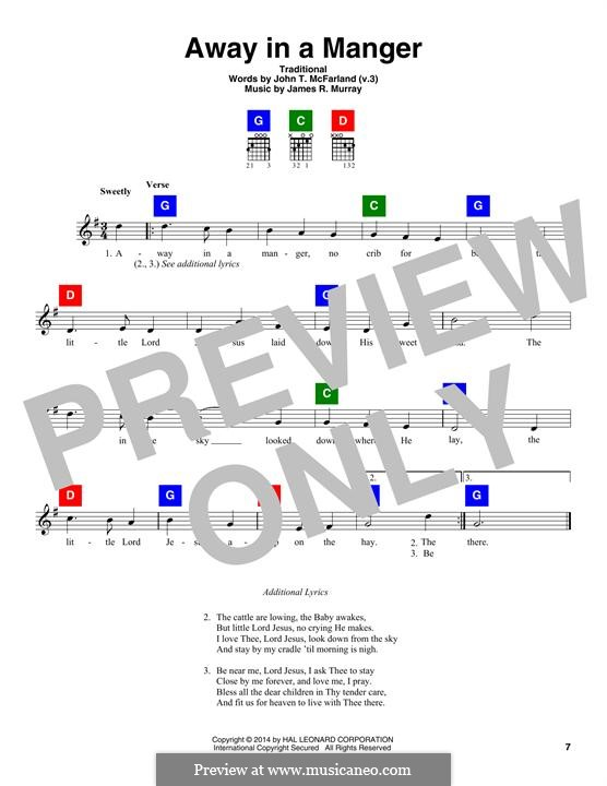 Away in a Manger (Printable Scores): Lyrics and chords by James R. Murray