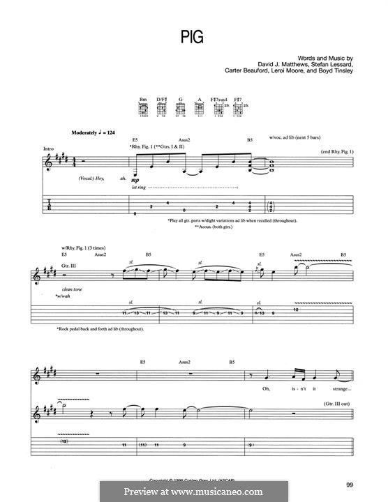 Pig (Dave Matthews Band): For guitar with tab by Boyd Tinsley, Carter Beauford, David J. Matthews, Leroi Moore, Stefan Lessard