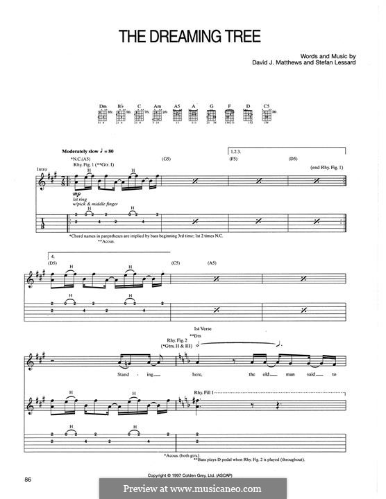 The Dreaming Tree: For guitar with tab by David J. Matthews, Stefan Lessard