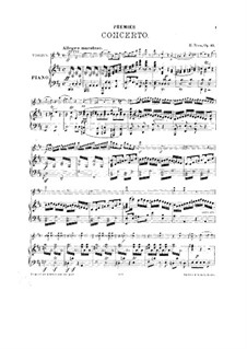 Concerto for Violin and Orchestra No.1, Op.13: Arrangement for vioin and piano by Hubert Ries