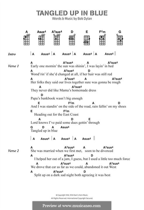 Tangled Up in Blue: Lyrics and chords by Bob Dylan