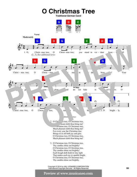 O Christmas Tree, (Printable Scores): Lyrics and chords by folklore