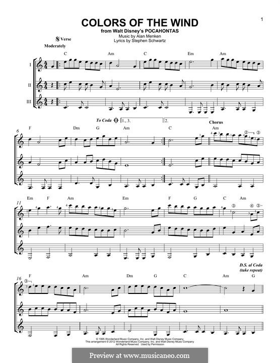 Colors of the Wind (from Pocahontas): For any instrument by Alan Menken