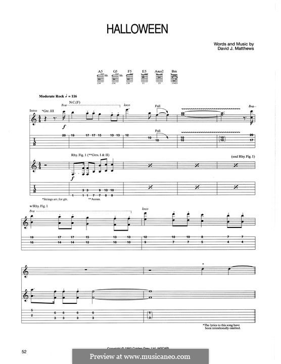 Halloween: For guitar with tab by David J. Matthews