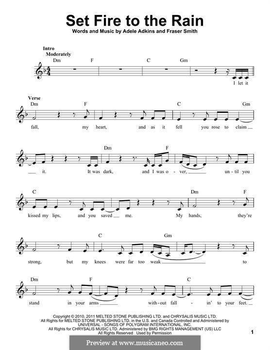 Set Fire to the Rain by Adele, F.T. Smith - sheet music on MusicaNeo
