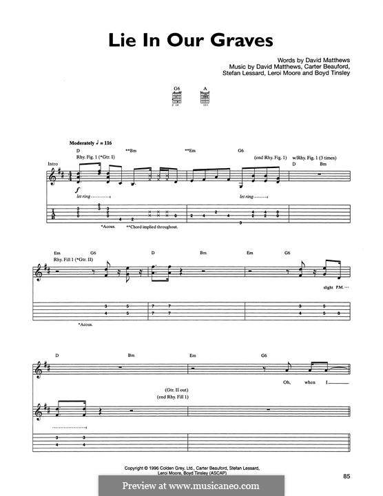 Lie in Our Graves (Dave Matthews Band): For guitar with tab by Boyd Tinsley, Carter Beauford, David J. Matthews, Leroi Moore, Stefan Lessard