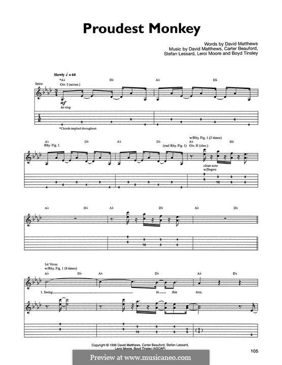 Proudest Monkey (Dave Matthews Band): For guitar with tab by Boyd Tinsley, Carter Beauford, David J. Matthews, Leroi Moore, Stefan Lessard