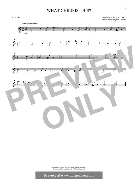 What Child is This (Christmas Carol): For alto saxophone by folklore