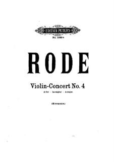 Violin Concerto No.4 in A Major: For violin and piano by Pierre Rode