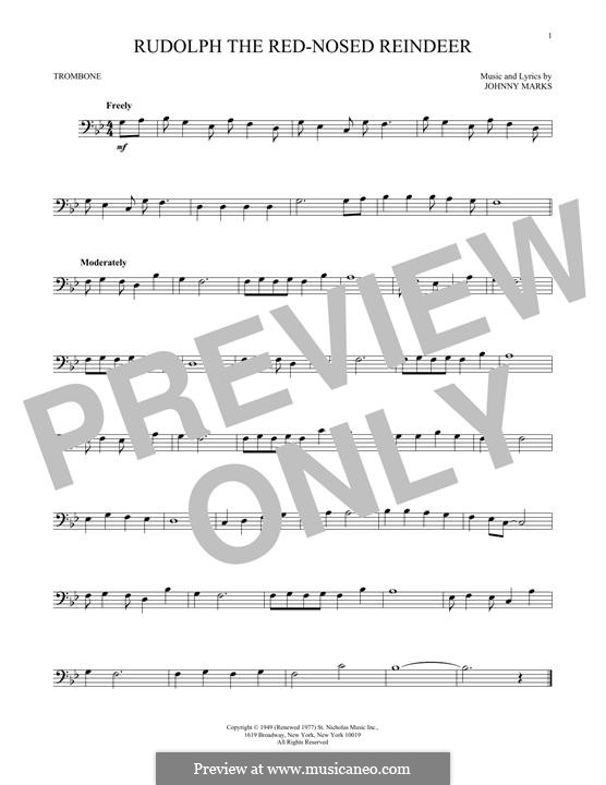 Rudolph the Red-Nosed Reindeer: For trombone by Johnny Marks