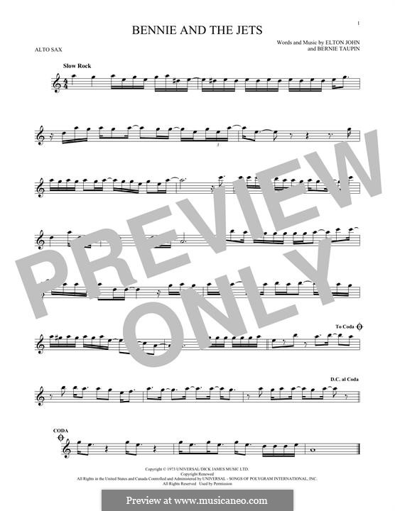 Bennie and the Jets: For alto saxophone by Elton John