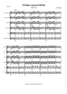 Concerto for Two Violins and Strings in B Flat Major, RV 525: Score and all parts by Antonio Vivaldi