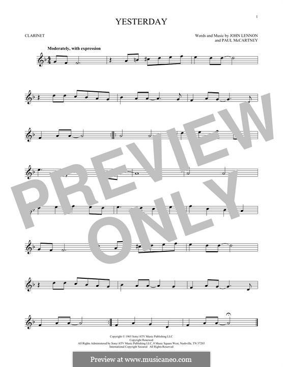 Yesterday (The Beatles): For clarinet by John Lennon, Paul McCartney