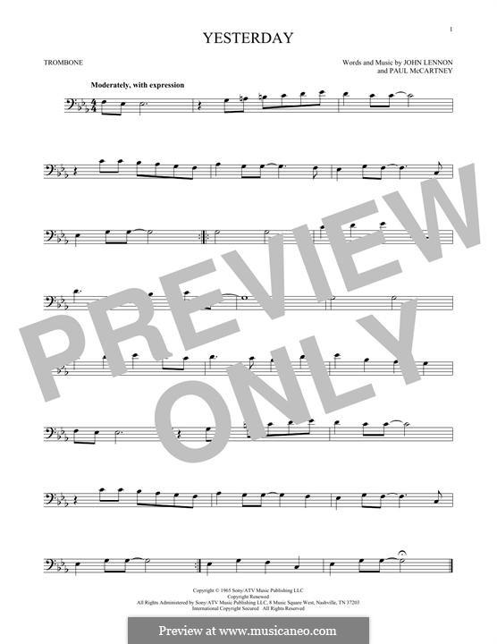 Yesterday (The Beatles): For trombone by John Lennon, Paul McCartney