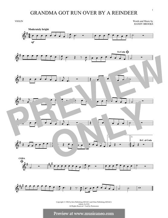 Grandma Got Run Over By a Reindeer: For violin by Randy Brooks