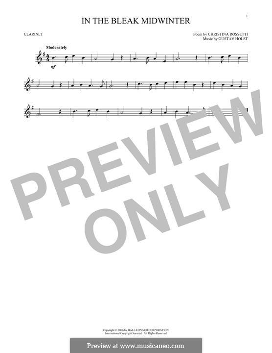 In the Bleak Midwinter: For clarinet by Gustav Holst