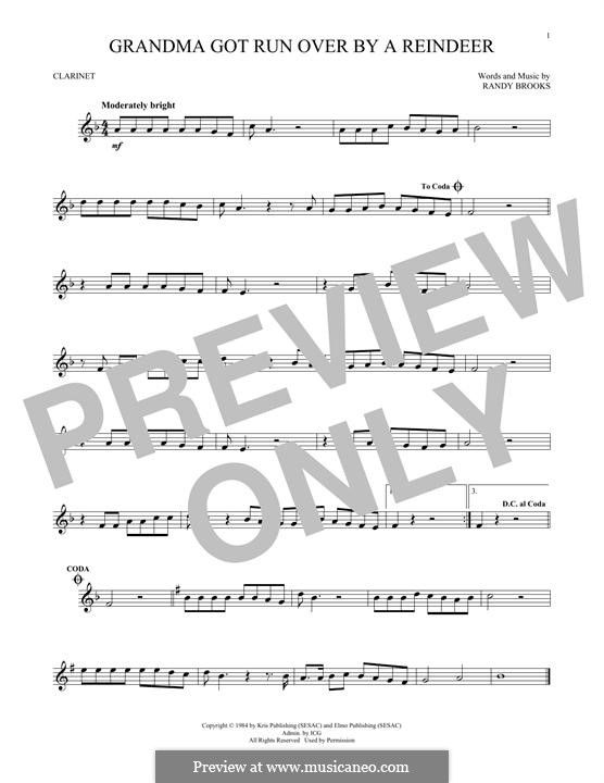 Grandma Got Run Over By a Reindeer: For clarinet by Randy Brooks