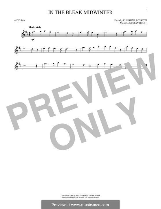 In the Bleak Midwinter: For alto saxophone by Gustav Holst