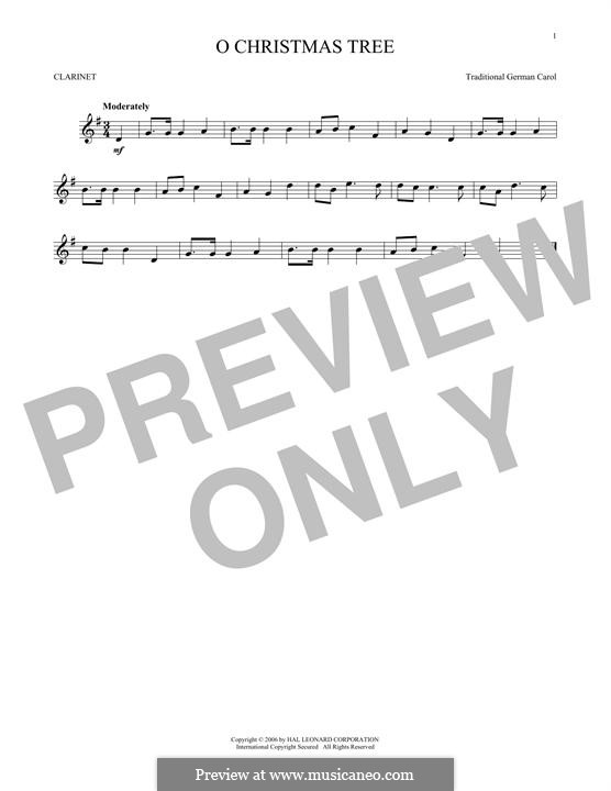 O Christmas Tree, (Printable Scores): For clarinet by folklore