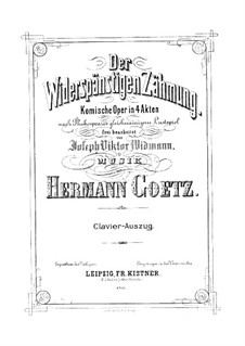 The Taming of the Shrew: Piano-vocal score by Hermann Goetz
