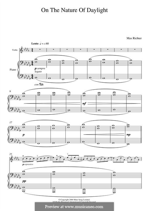 On the Nature of Daylight: For violin and piano by Max Richter