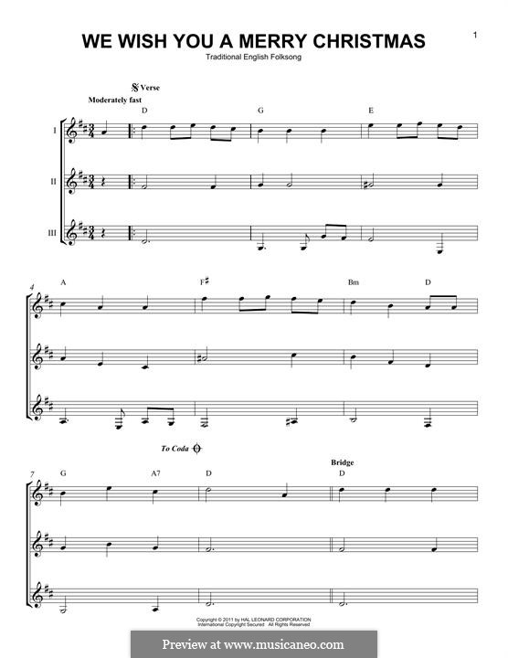 We Wish You a Merry Christmas (Printable Scores): For any instrument by folklore