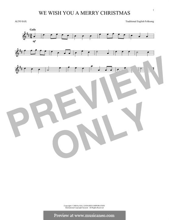 We Wish You a Merry Christmas (Printable Scores): For alto saxophone by folklore
