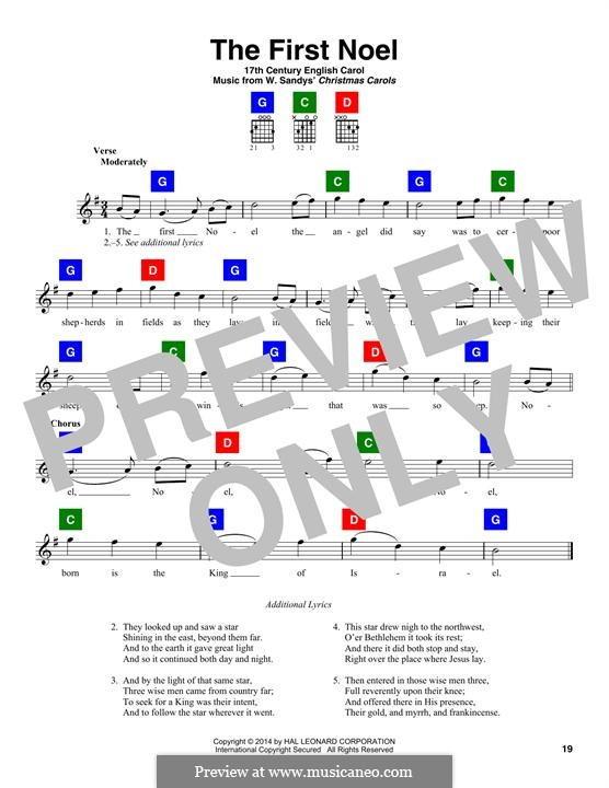 The First Nowell (The First Noël), Printable scores: Lyrics and chords by folklore