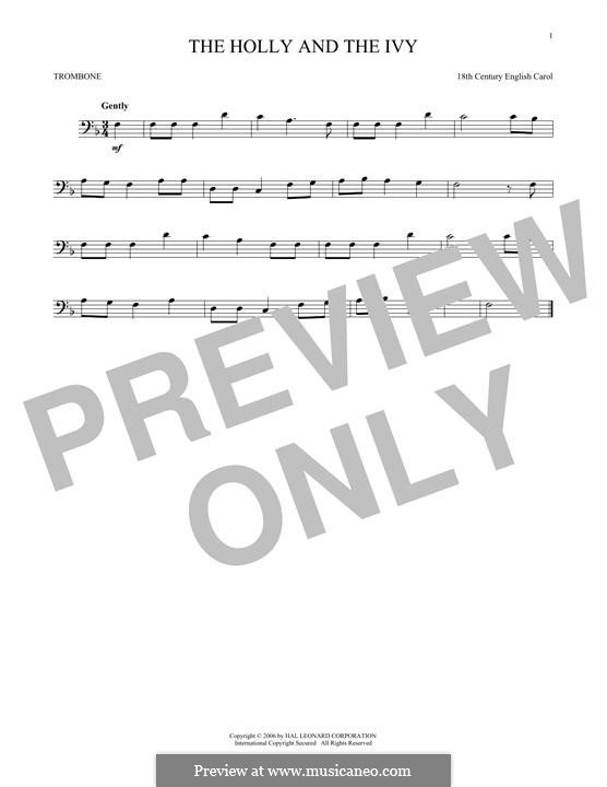 The Holly and the Ivy: For trombone by folklore