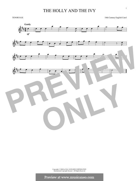 The Holly and the Ivy: For tenor saxophone by folklore