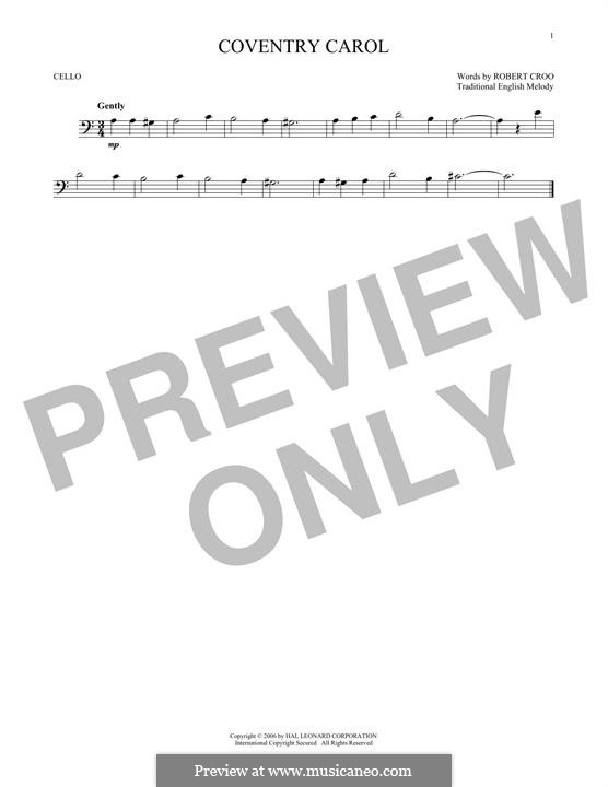 Coventry Carol: For cello by folklore