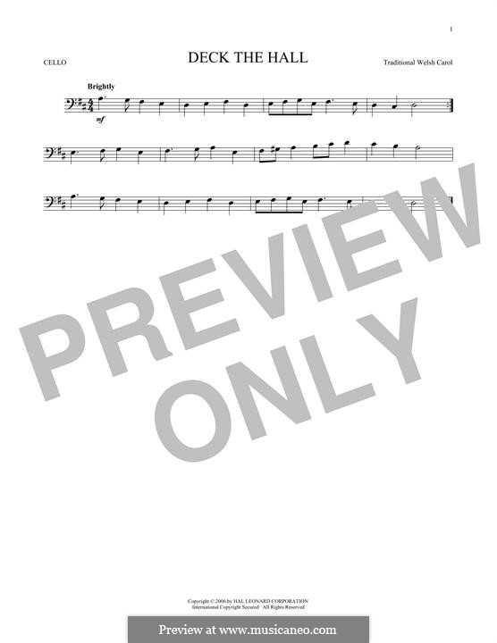 Deck the Hall (Printable): For cello by folklore