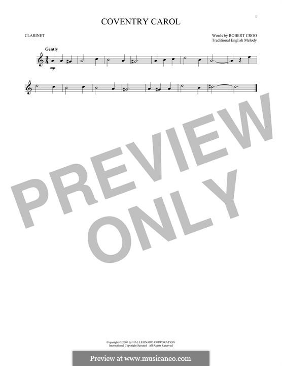 Coventry Carol: For clarinet by folklore