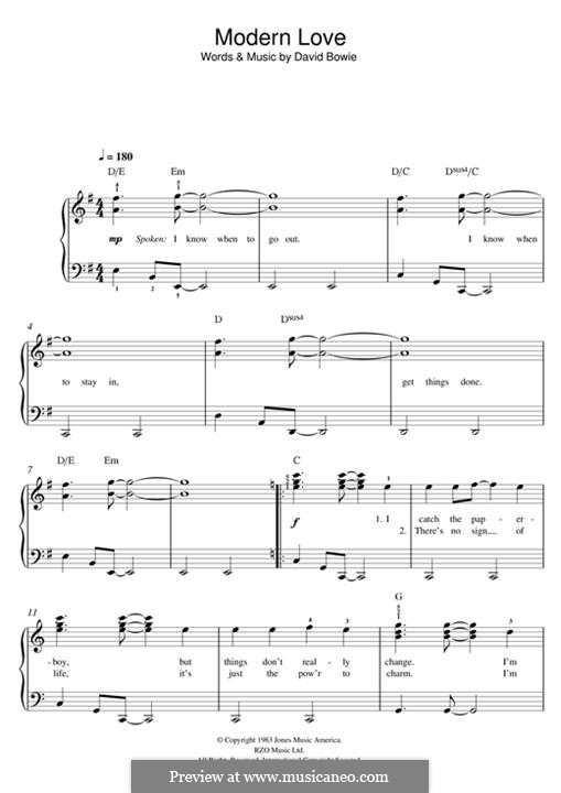 Modern Love: For piano by David Bowie